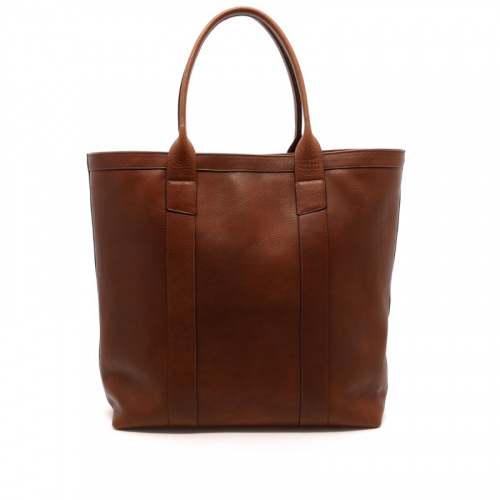 Tall Tote - Brown/Navy Interior - Tumbled Leather  in