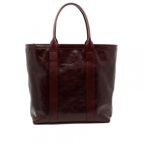 Tall Tote - Dark Maroon - Zipper Top - Glossy Tumbled Leather  in