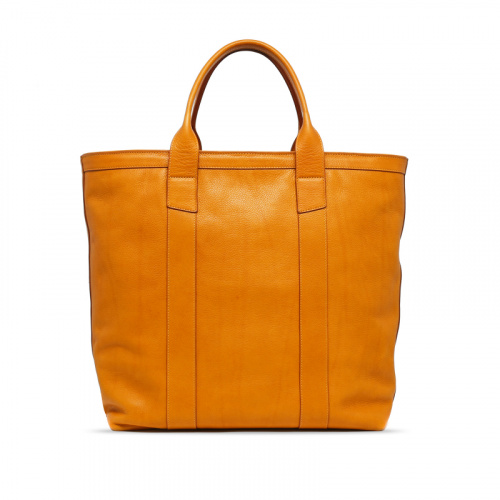 Tall Tote - Ochre - Zip-Top Closure -Tumbled Leather in