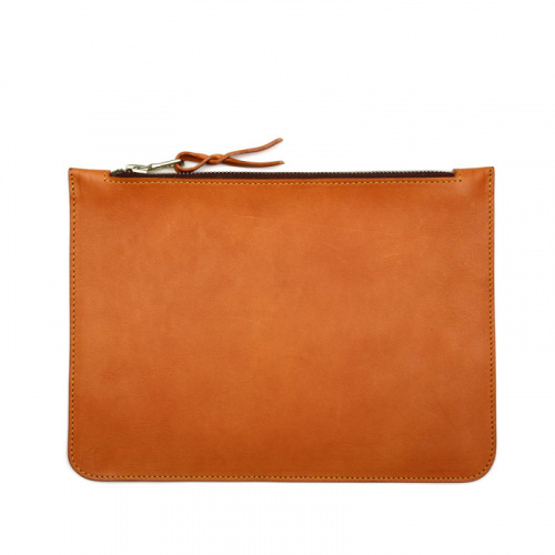 Medium Leather Zipper Pouch in Smooth Tumbled Leather