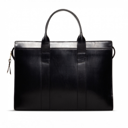 Zip-Top Briefcase Black Bridle in