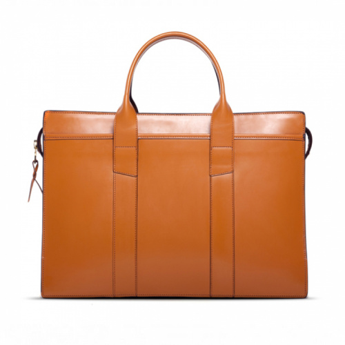 Zip-Top Briefcase London Tan in