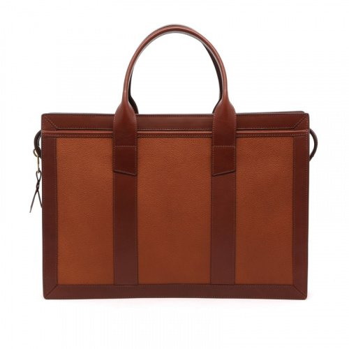 Zip-Top Briefcase - Cognac/Chestnut - Scotch Grain Leather in