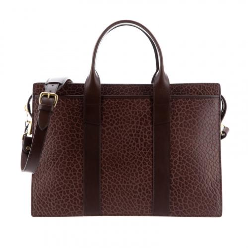 Zip-Top Briefcase in Shrunken Grain Leather